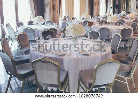 Rustic wedding decor wedding table setting stock photo 535670905 original wedding decor ideas wedding tables decorated with flower arrangements junglespirit Gallery