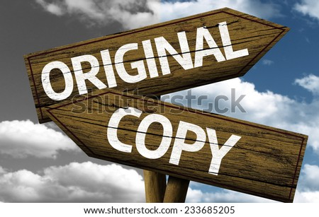 Original x Copy creative sign with clouds as the background - stock photo
