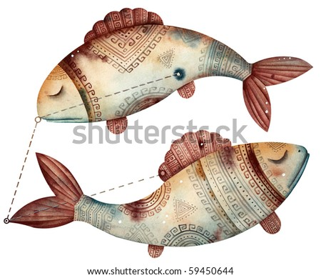Original zodiac symbol of pisces - stock photo