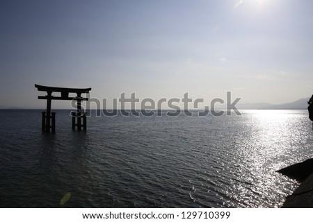 orii gate at?Shirahige-shrine - stock photo