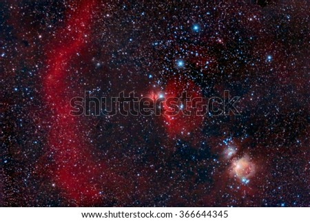 Orion Belt captured with an amateur telescope - stock photo