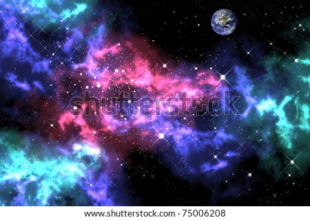 Orion in the space with the earth background