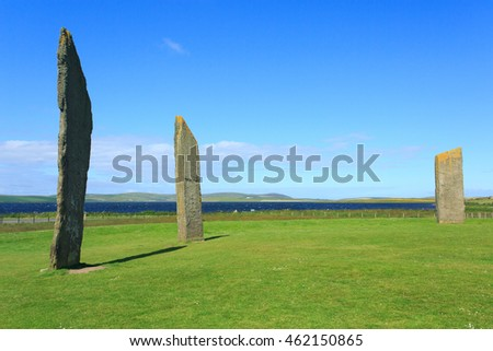 Orkney, Scotland - 12 July, 2016:  The Standing Stones of Stenness are a neolithic site on Orkney and date from around 2,500 BC