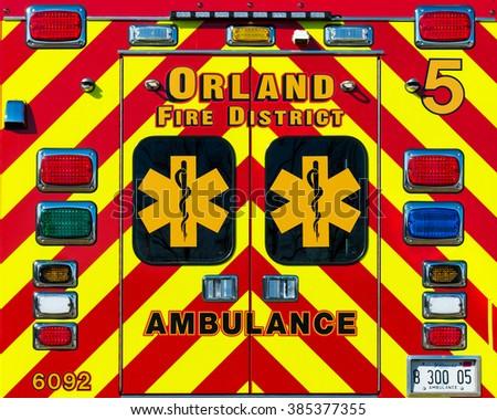 ORLAND PARK, ILLINOIS - MARCH 2: Colorful ambulance back doors on March 2, 2016 in Orland Park, Illinois - stock photo