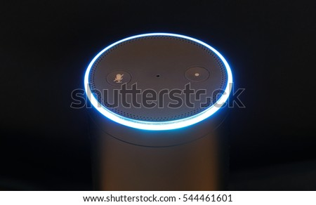 ORLANDO, FL - December 28, 2016:   Amazon Echo, the voice recognition streaming device from Amazon.  Currently available in two colors, black and white for a list price of $179.99.