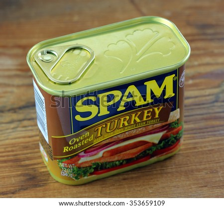 ORLANDO, FL - December 21, 2015:  Hormel Foods, LLC the producer of SPAM, now has added Oven Roasted Turkey to their line up of canned meat products.   - stock photo