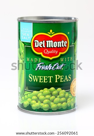 ORLANDO, FL - FEBRUARY 25, 2015:  Del Monte brand sweet peas now seasoned with sea salt. - stock photo
