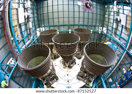 ORLANDO, FL - JULY 25: Engines of the Apollo rocket in detail at Apollo space center in the Kennedy space center complex on July 25, 2010 in Orlando, Florida. The center is open for public. - stock photo