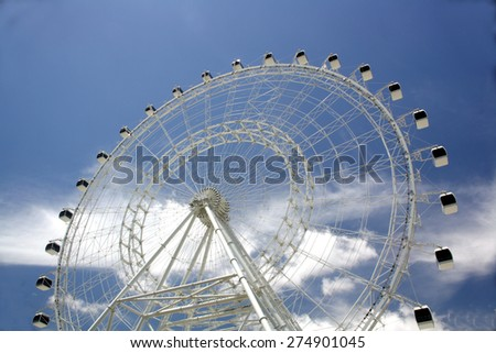 ORLANDO, FL - MAY 2: The Orlando Eye, Orlando's newest attraction, on May 2, 2015, two days before opening to the public.  It offers a view of Orlando from 400 feet in the air. - stock photo