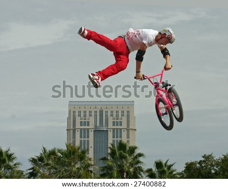 ORLANDO, FL - October 20, 2007 - Anthony Napolitano performs in the BMX Dirt Finals at the PlayStation Pro AST Dew Tour on October, 20, 2007 in Orlando, Florida. - stock photo