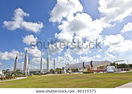 ORLANDO, FLORIDA - JULY 25: The Rocket Garden at Kennedy Space Center features 8 authentic rockets from past space explorations on July 25, 2010 in Orlando, Florida. - stock photo