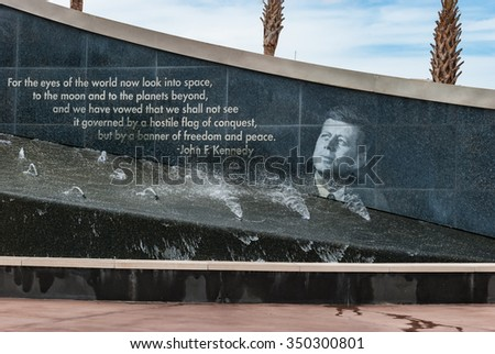 ORLANDO, FLORIDA - JUNE 7, 2013: The Rocket Garden at Kennedy Space Center NASA.  President Kennedy quote outside, historical rockets from past explorations for every USA human space flight since 1968 - stock photo