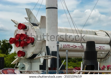 ORLANDO, FLORIDA - JUNE 7, 2013: The Rocket Garden at Kennedy Space Center NASA.  Tourist attraction, historical rockets from past explorations for every United States human space flight since 1968 - stock photo