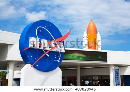 Orlando, Florida/USA April 10 2013: Kennedy space center museum entrance - stock photo