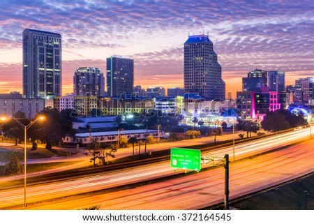 Orlando, Florida, USA downtown cityscape over the highway. - stock photo