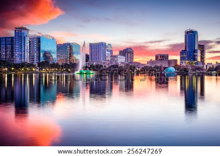 Orlando, Florida, USA skyline at Eola Lake. - stock photo