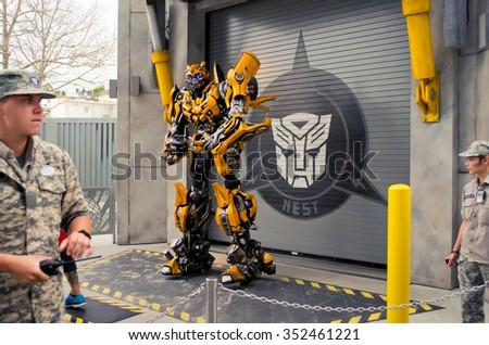 ORLANDO - MART 29: Transformers in Universal Studio park in Orlando, Florida on Mart 29, 2014 - stock photo