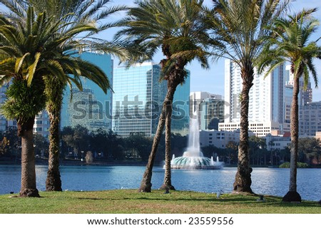 Orlando skyline from Lake Eola - stock photo