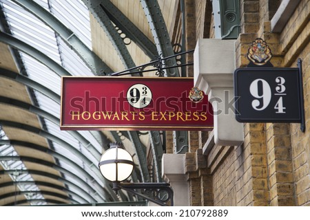ORLANDO, USA - AUGUST 4, 2014: Sign 9 3/4 Hogwarts Express. The  Wizarding World of Harry Potter - Diagon Alley of Universal Studios Orlando. Universal Studios is a park in Orlando, Florida, USA - stock photo