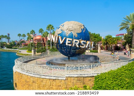 ORLANDO,USA - AUGUST 23, 2014 : The famous Universal Globe at Universal Studios Florida theme park - stock photo