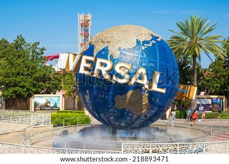 ORLANDO,USA - AUGUST 23, 2014 : The famous Universal Globe at Universal Studios Florida theme park - stock photo