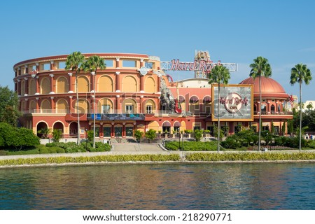 ORLANDO,USA - AUGUST 24, 2014 : The Hard Rock Cafe at Universal Orlando Resort in Florida - stock photo