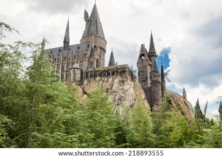 ORLANDO,USA - AUGUST 24, 2014 : The Hogwarts Castle at Universal Studios Islands of Adventure - stock photo