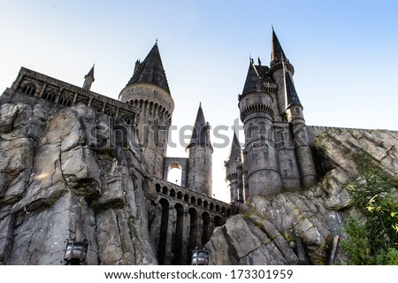 ORLANDO, USA - DECEMBER 19, 2013: The Wizarding World of Harry Potter in Adventure Island of Universal Studios Orlando. Universal Studios Orlando is a theme park resort in Orlando, Florida. - stock photo