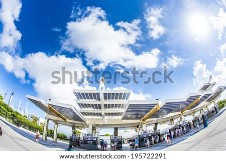 ORLANDO, USA - JULY 25: entrance for Kennedy Space Center early morning on July 25, 2010 in Orlando, USA. - stock photo