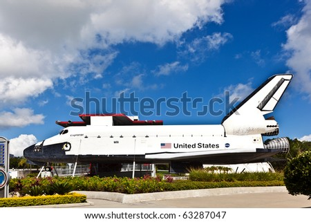 ORLANDO, USA - JULY 25: The original space shuttle Explorer standing at Kennedy Space Center open for visitors to enter also the inside on July 25, 2010 in Orlando, USA.