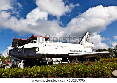 ORLANDO, USA - JULY 25: The original space shuttle Explorer standing at Kennedy Space Center open for visitors to enter also the inside on July 25, 2010 in Orlando, USA. - stock photo