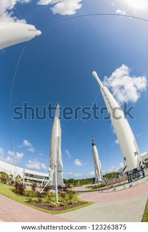 ORLANDO, USA - JULY 25: The Rocket Garden at Kennedy Space Center features 8 authentic rockets from past space explorations on July 25, 2010 in Orlando, USA. - stock photo