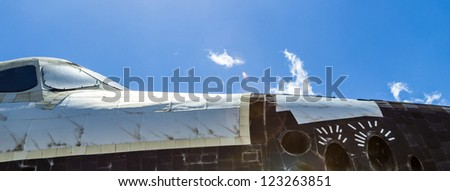 ORLANDO, USA - JULY 25: The space shuttle Explorer OV100 at Kennedy Space  on July 25, 2010 in Orlando, USA.  It was built in Apopka and, installed at Kennedy Space Center Visitor Complex in 1993. - stock photo