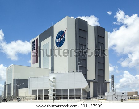 ORLANDO, USA - JULY 25, 2010: The Vehicle Assembly Building at NASA, Kennedy Space Center in Florida, Orlando. - stock photo