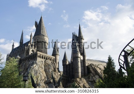 Orlando,  USA -June 6, 2014: The Hogwarts Express at The Wizarding World Of Harry Potter Potter at Universal Studios Orlando. Universal Studios Orlando is a theme park in Orlando, Florida, USA.