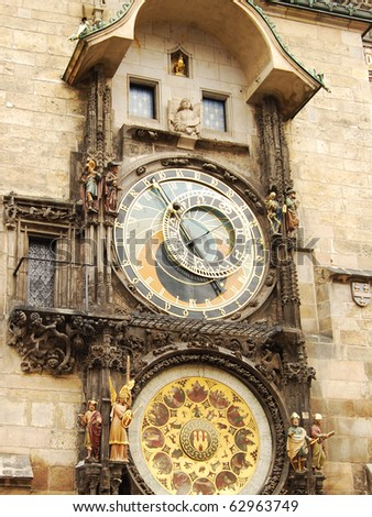 Orloj, the astronomical clock in Prague. (Czech Republic) - stock photo