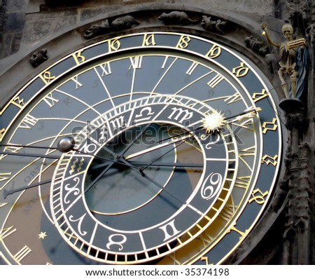 Orloy - famous old medieval astronomical clock in Prague, capital of Chech Republic.