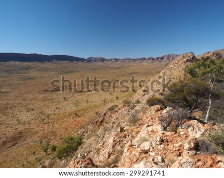 Ormiston Pound seen from the highest point of the rim walk, Northern Territory, Australia, July 2015  - stock photo