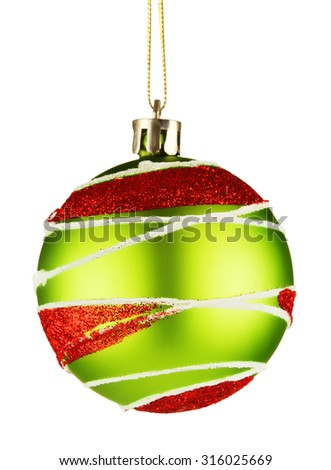 ornament ball for christmas tree, isolated on white background - stock photo