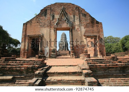 Ornament: beautiful ancient architecture at Wat Rajburana in Ayutthaya, Thailand