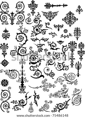 ornament elements collection isolated on white background - stock photo
