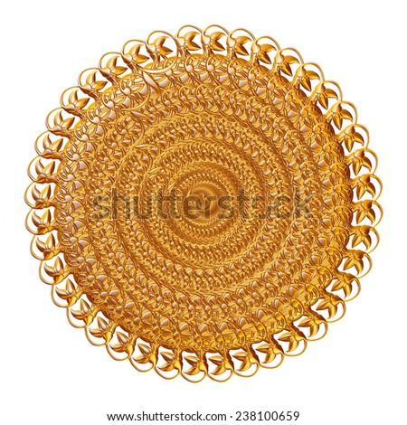 Ornament elements, vintage gold floral designs - stock photo