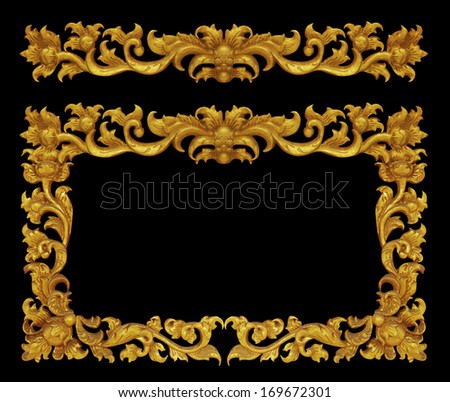 Ornament frame of gold plated vintage floral ,victorian Style - stock photo