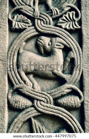 Ornament in shape of a goat in an old church in Zurich, Switzerland
