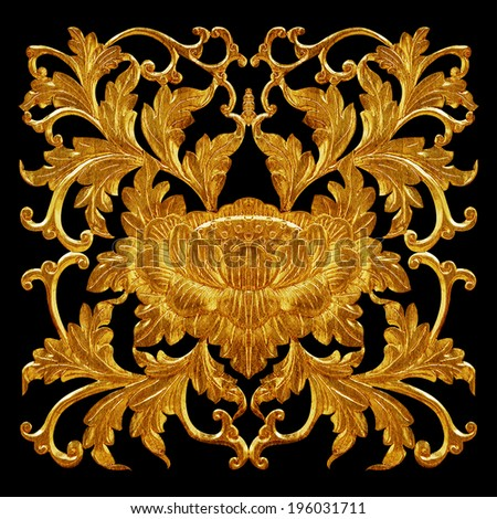 Ornament of gold plated vintage floral ,victorian Style - stock photo