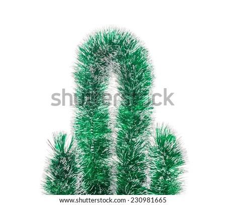 Ornament of tinsel. Isolated on the white background. - stock photo