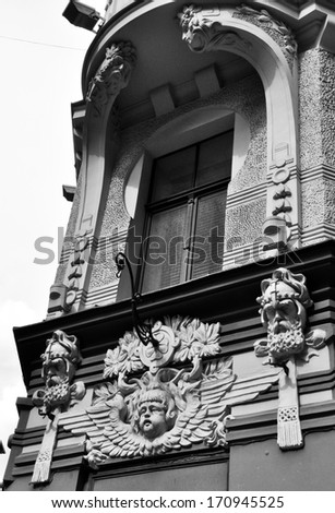 Ornament on the wall in Old Riga. - stock photo