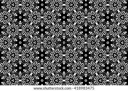 Ornament with elements of black and white colors. j