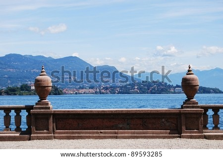 Ornamental balustrade on Borromean Island Isola Bella, Lake Maggiore panorama, Stresa, Piedmont, Italy - stock photo
