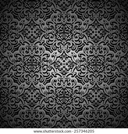 Ornamental black background, seamless pattern, raster illustration - stock photo